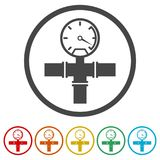 Manometer pressure gauge and vacuum gauge icon, 6 Colors Included. Simple  icons set Stock Photos