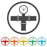 Manometer pressure gauge and vacuum gauge icon, 6 Colors Included. Simple vector icons set Royalty Free Stock Image