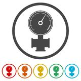 Manometer pressure gauge and vacuum gauge icon, 6 Colors Included. Simple vector icons set Stock Image