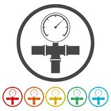 Manometer pressure gauge and vacuum gauge icon, 6 Colors Included. Simple vector icons set Royalty Free Stock Photography