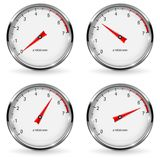 Manometer. Round gauge with metal frame. Different indication. Vector 3d illustration  on white background Stock Photos