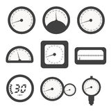 Manometer set, pressure and Temperature gauge set icons. Vector Stock Image