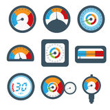 Manometer set, pressure and Temperature gauge set icons. Vector Royalty Free Stock Photos