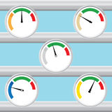 Manometer set - red, green, blue. Vector. Royalty Free Stock Photography