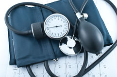 Manometer, stethoscope Royalty Free Stock Images