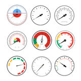 Manometer Temperature Gauge Devices Set. Vector Stock Image