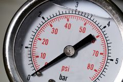 Manometer turbo pressure meter gauge in pipes oil plant Stock Images