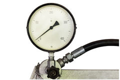 Manometer on white background.Pressure gauge. Stock Photo