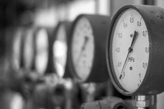 Manometers in the boiler Royalty Free Stock Photography