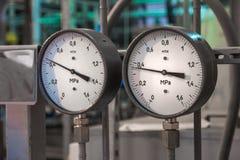 Manometers in de boiler royalty-vrije stock foto