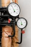 Manometers in Heating system Stock Photography