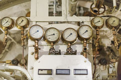 Manometers inside of submarine. Royalty Free Stock Photo