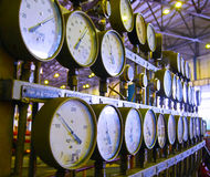 Manometers at power plant Royalty Free Stock Photos