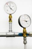Manometri del sistema del riscaldamento dell'acqua Fotografie Stock Libere da Diritti