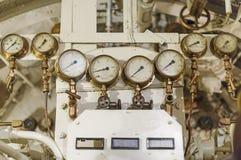 Manometri dentro del sottomarino Fotografia Stock Libera da Diritti