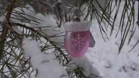 Manopla del juguete en el árbol de navidad Fotos de archivo