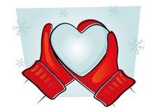 Manoplas con el corazón frío Fotografía de archivo libre de regalías