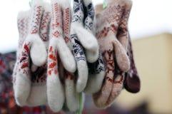 Manoplas de lana Imagen de archivo libre de regalías
