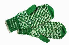Manoplas de lana verdes y blancas Fotos de archivo libres de regalías