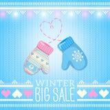 Manoplas. Ejemplo del invierno de la venta. Puede ser utilizado para el diseño del invierno Imagen de archivo libre de regalías
