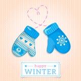 Manoplas. Ejemplo feliz del invierno. Puede ser utilizado para el desig del invierno Fotos de archivo libres de regalías