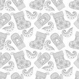 Manoplas hechas punto calientes del invierno, modelo inconsútil de los calcetines en zentangle Ilustración del Vector