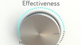 Manopola girante con l'iscrizione di efficacia Rappresentazione concettuale 3d Fotografia Stock