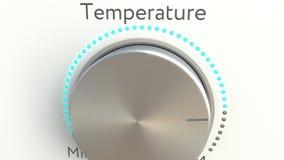Manopola girante con l'iscrizione di temperatura Rappresentazione concettuale 3d Immagine Stock