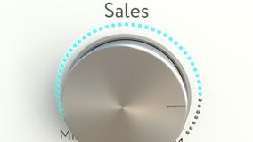Manopola girante con l'iscrizione di vendite Rappresentazione concettuale 3d Immagini Stock