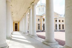 Manor Arkhangelskoe. Colonnade of the palace. Moscow, Manor Arkhangelskoe. Colonnade of the palace, in the form of a long gallery with arches Stock Photos