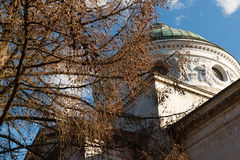 Manor Arkhangelskoe. Temple-tomb Colonnade . Spring in the park. Royalty Free Stock Photo