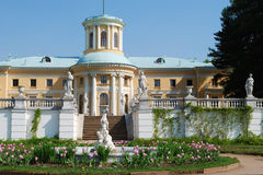 Manor house. In Arkhangelskoye estate, Moscow. View from terraced garden. Horizontal version royalty free stock photos