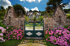 Manor house in Brittany. Attractive manor house in Brittany, France, with Hortensia shrubs in front of it Royalty Free Stock Photo