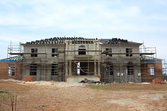 Manor house construction. Building process of a modern manor house in the final stages (in Australia&#x29 Royalty Free Stock Image