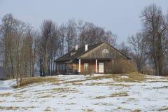 Manor house February day. The estate Trigorskoye Pushkin mountains Stock Photo