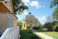 Manor house and the house church in the estate of Lermontov Tark Stock Photos