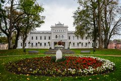 Manor house, palace with park of Duke Oginskis in Plunge, Lithuania. PlungÄ— manor homestead in neo-renaissance. Style royalty free stock image