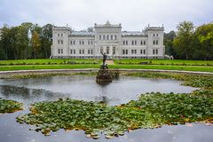 Manor house, palace with park of Duke Oginskis in Plunge, Lithuania. PlungÄ— manor homestead in neo-renaissance. Manor house, palace with park of Duke royalty free stock photo