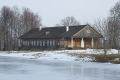 Manor house in Trigorskoye in the last days of winter. Pushkin Mountains Royalty Free Stock Photo