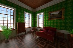 Manor interior - bedroom Stock Photo