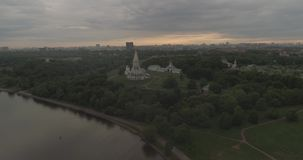 Manor of Kolomenskoye aerial. Kolomenskoye Church of the Ascension, aerial photography stock video