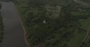 Manor of Kolomenskoye aerial. Kolomenskoye Church of the Ascension, aerial photography stock video footage