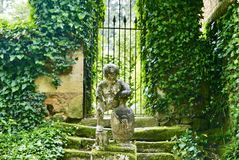 Manicured garden at Manor d'Eyrignac royalty free stock photo