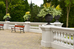 Manor terrace and garden Royalty Free Stock Image