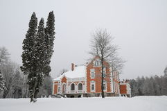 Manor in wintertijd Royalty-vrije Stock Foto