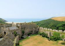 Manorbier Castle. Is beautifully situated next to the ocean between Tenby and Pembroke in southwest Wales Stock Photos