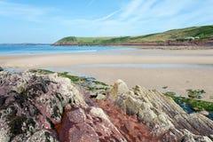 Manorbier strand, Pembrokeshire, Wales Royaltyfria Foton
