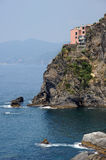 Manorola Cinque Terre Italy. Manorola as seen from the railway station, in a bay adjacent to the stunningly beautiful village of Manarola, one of the Italian Stock Photography