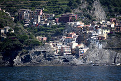 Manorola a fishing village on the Cinqueterra coastline of Liguria in Northern Italy. The villages cannot be reached by road,. The fishing villages of Monterosso Stock Image