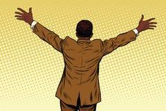 Manos abiertas del hombre de negocios afroamericano trasero para los abrazos Fotografía de archivo